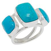 Jay King Sterling Silver Gold-Color Matrix Turquoise 3-Stone Ring