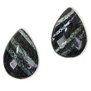 Jay King Sterling Silver Green Zebra Stone Stud Earrings
