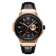 "JBW Men's ""Saxon"" 16-Diamond Rosetone Black Leather Watch"