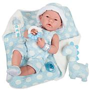 """JC Toys La Newborn 15"""" Real Boy Baby Doll w/ Blue Outfit and Dinosaur"""