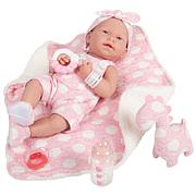 """JC Toys La Newborn 15"""" Real Girl Baby Doll, Pink Outfit and Dinosaur"""
