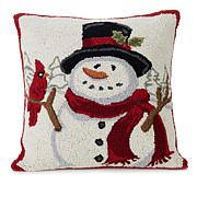 Jeffrey Banks Snowman and Bird Hand-Hooked Wool Pillow