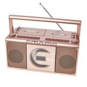 Jensen Portable Boombox with AM/FM Radio, Dual Cassette and CD Player