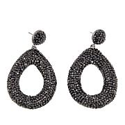 JK NY Black Stone Silvertone Teardrop Pavé Earrings