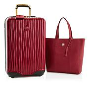 JOY Metallic Set E*Lite Travel Medium Hardside Luggage w/Leather Tote