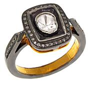 Joya 0.87ctw Polki Diamond Audrey Goldtone Ring