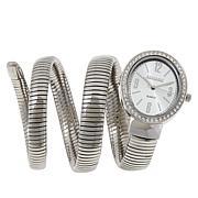 Kessaris Silvertone Oval Tubogas Coil Wrap Watch