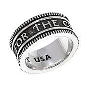 King Baby Sterling Silver Men's Coined Edge Band Ring