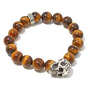 King Baby Tiger's Eye Quartz Bead Skull Charm Bracelet