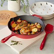 "Kitchen HQ Elite 10"" Nonstick Cast Iron Frypan with Magnetic Trivet"