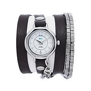 La Mer Black Leather/Silvertone Square Bead Wrap Watch
