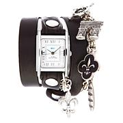 La Mer Riviera Black Leather Wrap-Design Watch