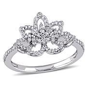 "Laura Ashley 0.356ctw Diamond ""Flower"" 10K Ring"
