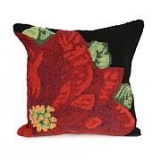"Liora Manne Frontporch Poinsettia 18"" Square Pillow"