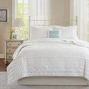 Madison Park Celeste White 4pc Coverlet Set - F/Q