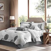 Madison Park Essentials Printed Comforter Set with Sheet Set- Grey