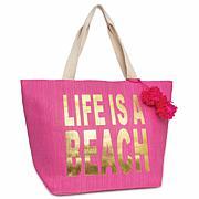 Magid Life Is A Beach Metallic Slogan Insulated Straw Beach Tote