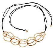 "MarlaWynne 61"" Circle Link Black Suede Cord Necklace"
