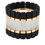 "MarlaWynne Tri-Color Bar Goldtone 6-5/8"" Stretch Bracelet"