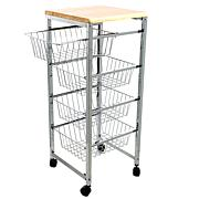 Mind Reader 4-Tier Wire Basket Cart with Wood Surface - Silver