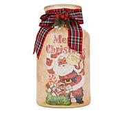 Mr. Christmas Vintage Frosted Glass Milk Jug with Bow