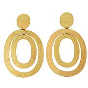 N Natori Goldtone Brushed Brass Oval Drop Earrings