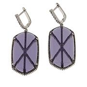 "Natalie Mills ""Vlada"" Silvertone X-Design Drop Earrings"