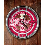 NCAA Chrome Clock - Arkansas