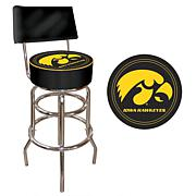 NCAA Padded Bar Stool with Back - University of Iowa