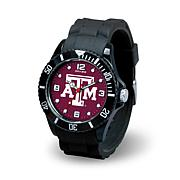 NCAA Team Logo Spirit Black Rubber Strap Sports Watch - Texas A&M