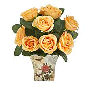 "Nearly Natural 11"" Rose Artificial Arrangement in Floral Vase"