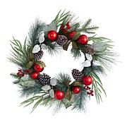 """Nearly Natural 24"""" Assorted Pine, Pinecone and Berry Wreath"""