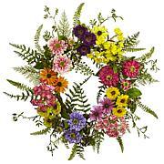 Nearly Natural Silk Mixed Flower Wreath Arrangement