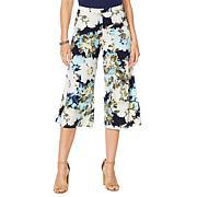 Nina Leonard Printed Miracle Matte Jersey Gaucho Pant