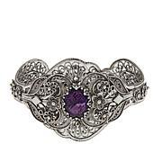 """Ottoman Silver Jewelry 7.5ctw Amethyst 7-1/4"""" Cuff Bracelet"""