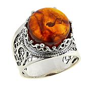 Ottoman Silver Jewelry Collection Amber Solitaire Filigree Ring