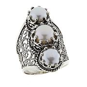 Ottoman Silver Jewelry Cultured Freshwater Pearl 3-Stone Ring