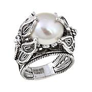 "Ottoman Silver Jewelry Freshwater Pearl ""Blossom"" Ring"