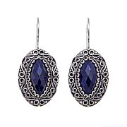 Ottoman Silver Marquise Blue Corundum Drop Earrings