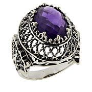 Ottoman Silver Oval Gemstone Filigree Ring