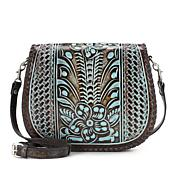 Patricia Nash Savini Tooled Leather Saddle Bag