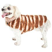 Pet Life Luxe Tira-Poochoo Tiramisu Patterned Faux Mink Dog Coat
