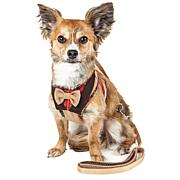 Pet Life Mesh 2-in-1 Adjustable Dog Harness-Leash with Fashion Bow Tie