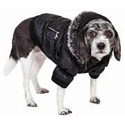 Pet Life Metallic Fashion Dog Parka Coat with Removable Hood