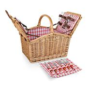 Picnic Time Piccadilly Basket - Red & White Plaid Pattern