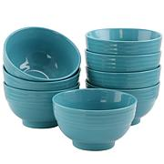 "Plaza Cafe 6"" Bowl Set in Turquoise, Set of 8"