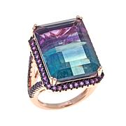 Rarities 29.99ctw Bi-Color Fluorite and Amethyst Ring