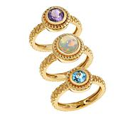 Rarities 3ctw Set of 3 Stackable Gemstone Rings