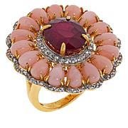Rarities Gold-Plated Glass-Fill Ruby, Opal & White Zircon Flower Ring