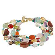"Rarities Gold-Plated Multi-Gemstone 7-1/4"" Multi-Row Beaded Bracelet"